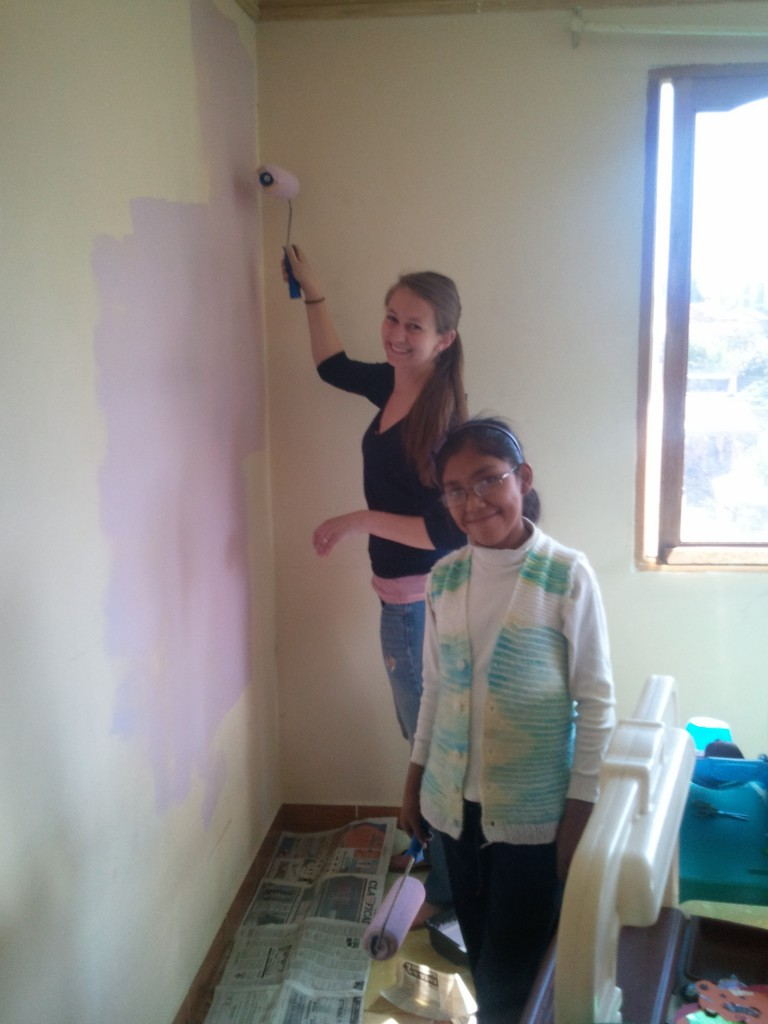 Emily and Kattia painting the play room (i.e. therapeutic jet-lag recovery)
